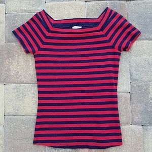 Anthropologie Postage Stamp Red Navy Striped Tee